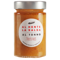 Sauce aus gelben Tomaten und Thunfisch