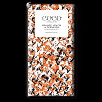 Dunkle Schokolade (60%) mit Orange, Zitrone und Geranium