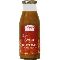 Kürbis-Suppe mit Koriander und geröstetem Speck
