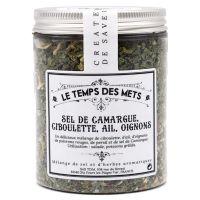 Camargue-Salz mit Schnittlauch, Knoblauch, Zwiebeln