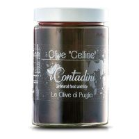 Schwarze Celline Oliven in Salzlake, 550g