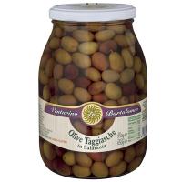 Taggiasca-Oliven in Salzlake, 950g.